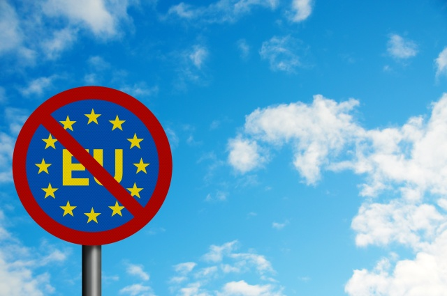 Political issues series: 'Euro-sceptic' concept, with EU letteri