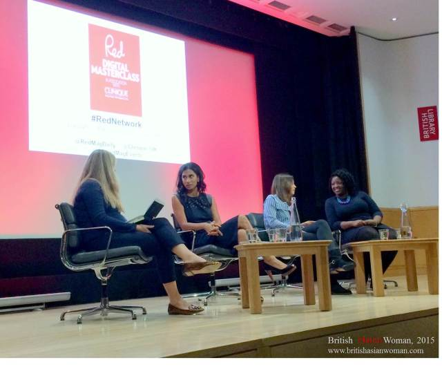 From left to right: Sarah Tomczak Red Features Editor; Janvi Patel founder of Halebury Law; Ella Woodward founder of Deliciously Ella; Anne-Marie Imafidon, founder of Stemettes