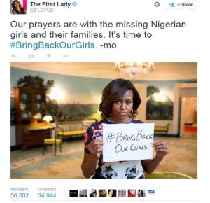 Michelle Obama added her voice to the campaign to free the kidnapped school girls